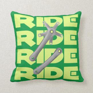 Retro Square Taper Bike Crankset Greeen Throw Pillow