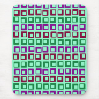 Retro squares 1970s motel wallpaper spring green mouse pad
