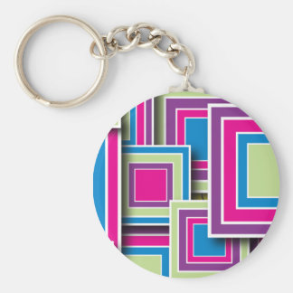 Retro Squares Basic Round Button Keychain
