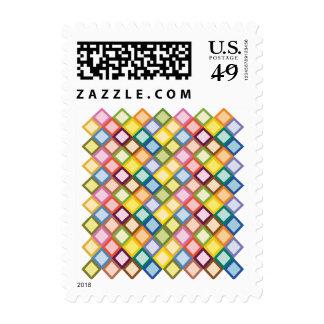 Retro Squares Bright Postage Stamp