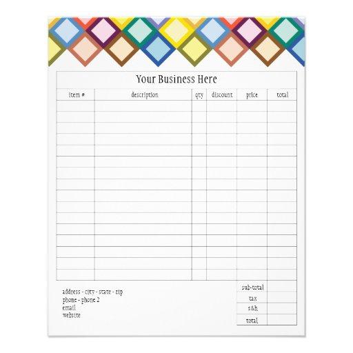 Retro Squares Bright Small Order Form Custom Flyer