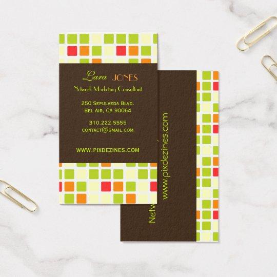 Retro Squares Business Card dark chocolate accent