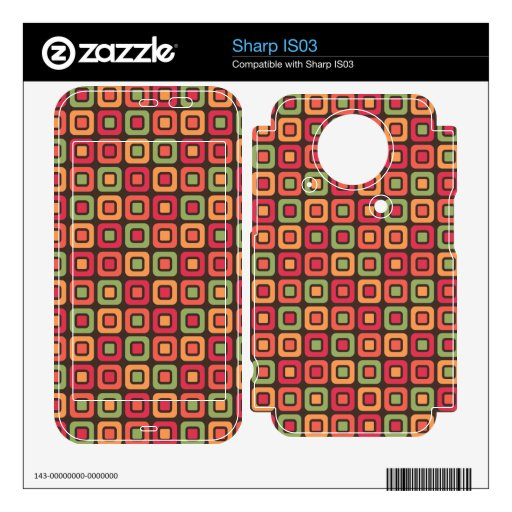 Retro Squares -Forest Sun- Decal For Sharp IS03