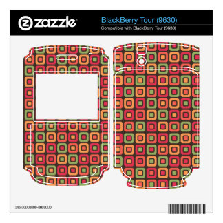 Retro Squares -Forest Sun- Decal For BlackBerry Tour