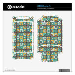 Retro Squares -Minty Mustard- HTC Desire S Decal