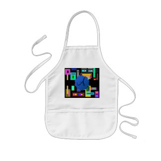 Retro squares monogram kids' apron