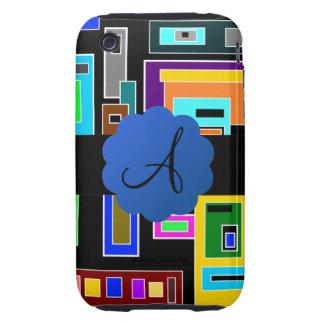 Retro squares monogram tough iPhone 3 case
