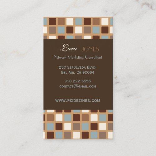 Retro Squares Mosaic Tilesdark chocolate accent Business Card