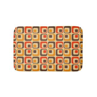 Retro Squares Pattern - Red, Brown & Orange Bath Mat