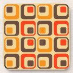 Retro Squares Pattern - Red, Brown & Orange Drink Coaster