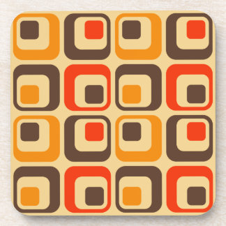 Retro Squares Pattern - Red, Brown & Orange Drink Coaster