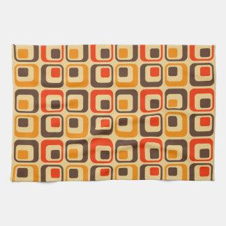 Retro Squares Pattern - Red, Brown & Orange Hand Towel