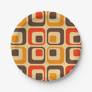 Retro Squares Pattern - Red, Brown & Orange Paper Plate