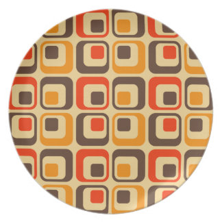 Retro Squares Pattern - Red, Brown & Orange Plate