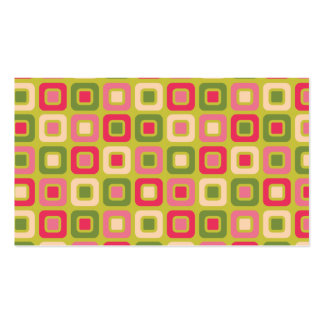Retro Squares -Pink and Green- Business Card Templates