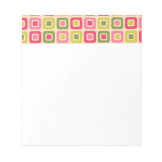 Retro Squares -Pink Leaf- Notepad