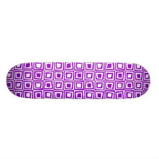 Retro Squares - Purple on White Skateboard