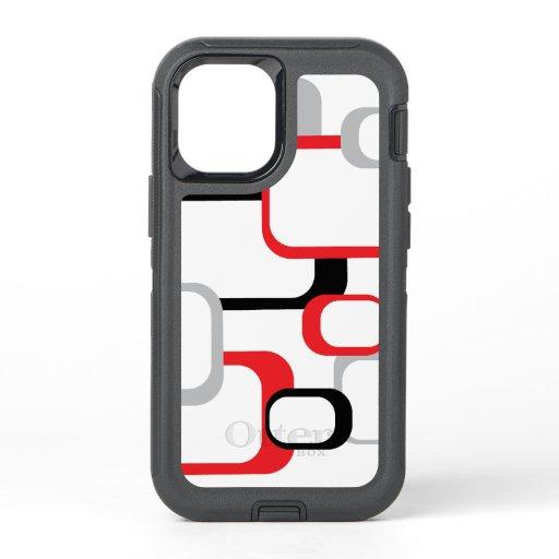 Retro Squares Red Gray Black Pattern White  OtterBox Defender iPhone 12 Mini Case