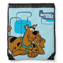 Retro Squares Scooby-Doo Lying Down Drawstring Backpack