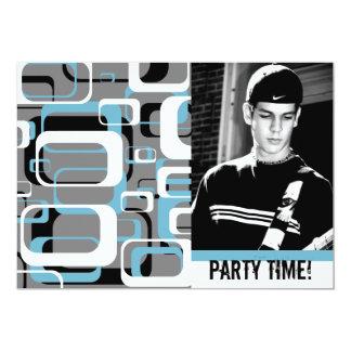 Retro Squares Teen Boy Party Celebration Card