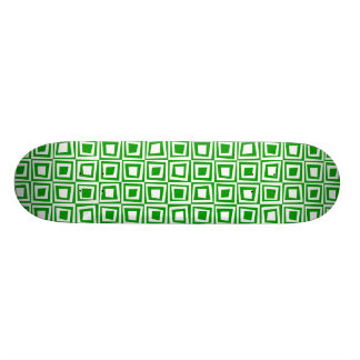 Retro Squares - White on Green Skateboard Deck