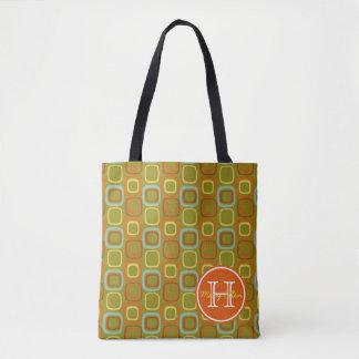 Retro Squares With Tangerine Monogram Tote Bag