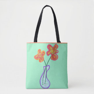 Retro squiggle flowers in a vase tote bag