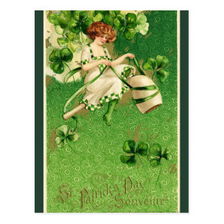 Retro St. Patrick's Day Irish Woman and Shamrocks Postcard