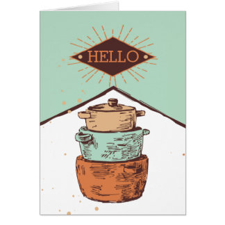 retro stacked cooking pots pans chef catering greeting card