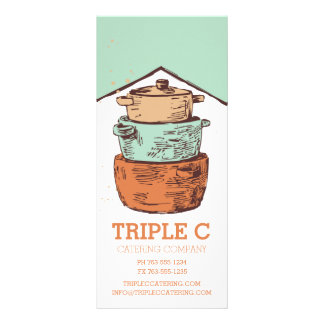 retro stacked cooking pots pans chef catering rack card design