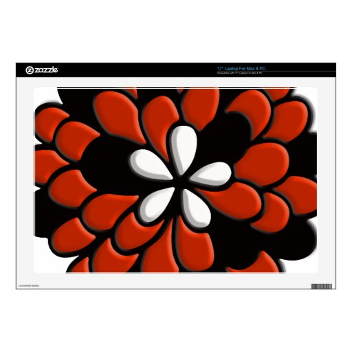Retro Stained Glass Orange Flower Laptop Skins