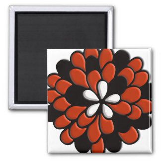 Retro Stained Glass Orange Flower Refrigerator Magnets