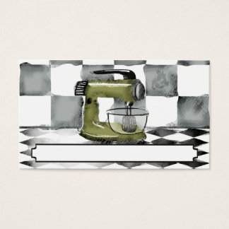 retro stand mixer bakery pastry chef business card