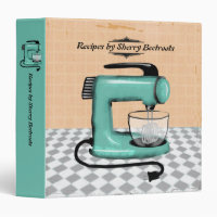 Retro stand mixer cooking baking recipe cookbook 3 ring binder