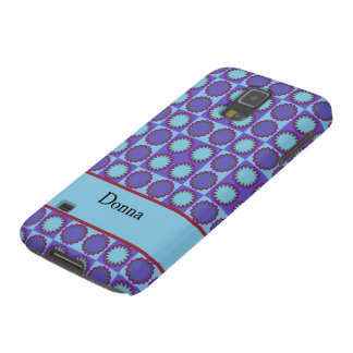 Retro star flowers blue, add text template galaxy s5 cover