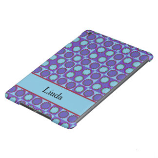 Retro star flowers blue, add text template iPad air covers