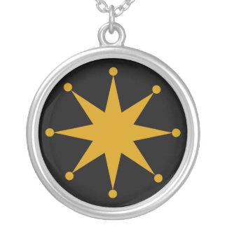Retro Starburst Round Pendant Necklace