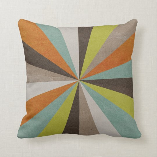 Retro Starburst Pattern Throw Pillow