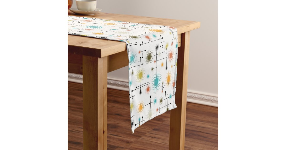 Retro Starbursts A Go Short Table Runner Zazzle