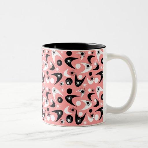 Retro Starbursts & Boomerangs Two-Tone Coffee Mug