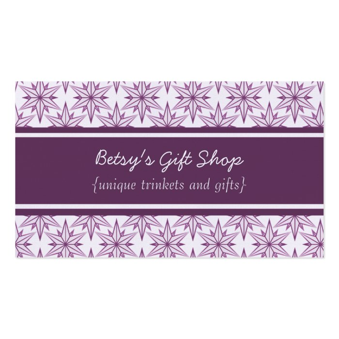 Retro Starbursts Business Card, Eggplant Business Card