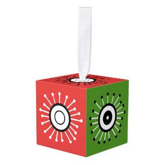 Retro Starbursts Cube Ornament