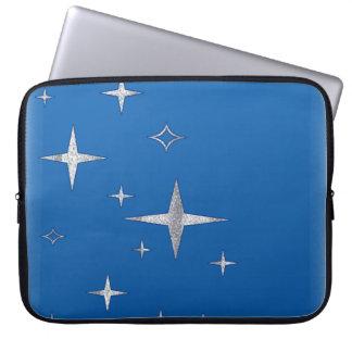 retro stars blue & silver computer sleeve