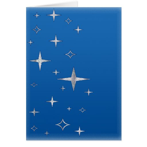 retro stars blue & silver greeting card