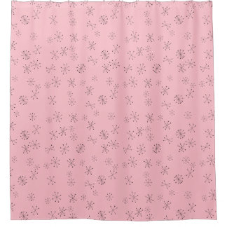 Retro Stars on Pink Shower Curtain