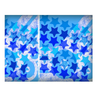 Retro stars pattern in white and blue, urban style postcard