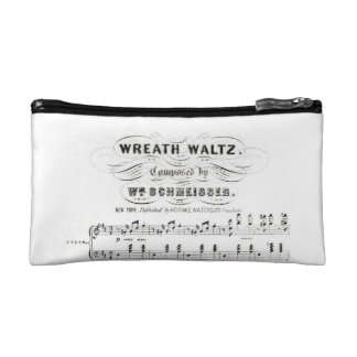 Retro staves of sheet music notes (vintage waltz) makeup bags