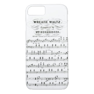 Retro staves of sheet music notes (vintage waltz) iPhone 8/7 case