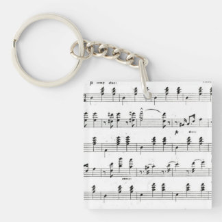 Retro staves of sheet music notes (vintage waltz) square acrylic keychain