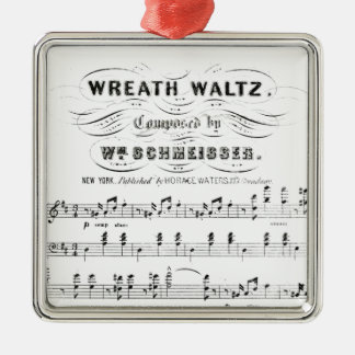 Retro staves of sheet music notes (vintage waltz) metal ornament